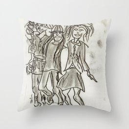Cheerful Girls Throw Pillow