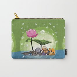 Mandarin duck and lotus flower Carry-All Pouch