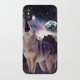 Wolf in the moon howling at the earth iPhone Case