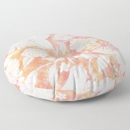 Fantasy Flowers Coral Background Floor Pillow