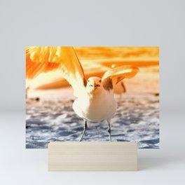 The seagull on crazy rubbing shoulders Mini Art Print