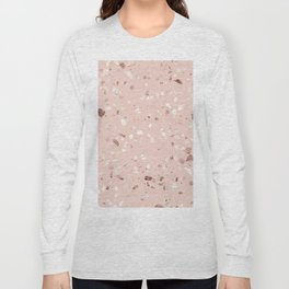 Blush Pink + Rose Gold Terrazzo Long Sleeve T-shirt