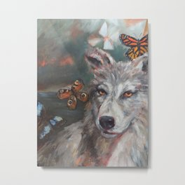 Butterfly Wolf Metal Print