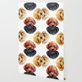 Toy poodle friends mix, Dog illustration original painting print Wallpaper