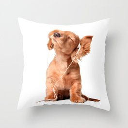 Young Puppy Listening to Music on Headphones Throw Pillow