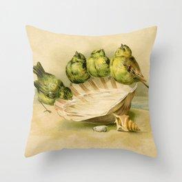 Vintage Yellow Birds on Seashell Throw Pillow