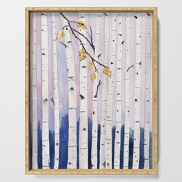Birch Trees Watercolor Serving Tray