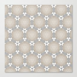 Grey Taupe Hexagon Star Pattern Canvas Print
