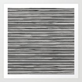 Skinny Stroke Horizontal Black on Off White Art Print