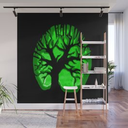 Happy HaLLoween Brain Tree : Green & Black Wall Mural