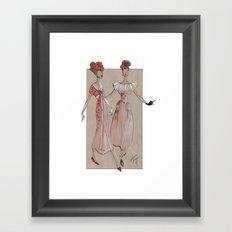 Fashion Illustration - Pink Gowns Framed Art Print