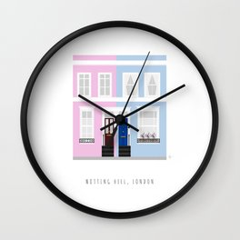 London, England | Colored Houses in Notting Hill Wall Clock