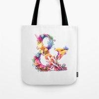 mushrooms Tote Bags featuring Mushrooms & by Sasha Vinogradova