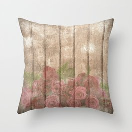 Vintage Shabby Chic Elegant Country Wine Roses Throw Pillow