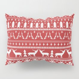 Deer christmas fair isle camping pattern snowflakes minimal winter seasonal holiday gifts Pillow Sham