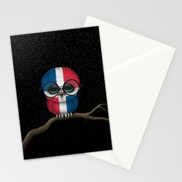 Baby Owl with Glasses and Dominican Flag Stationery Cards