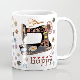Sew Happy Vintage Singer Machine and Bobbins Coffee Mug