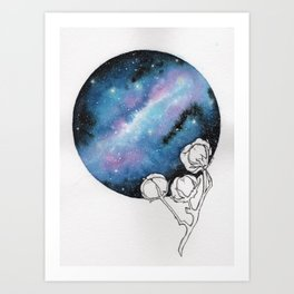 """""""Cotton Candy Galaxy"""" watercolor with pen drawn cotton Art Print"""