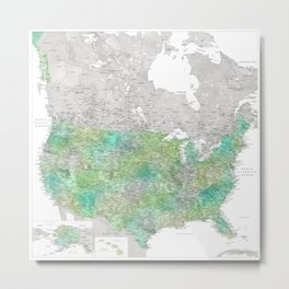 Green watercolor detailed map of the US Metal Print