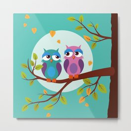 Sleepy owls in love Metal Print