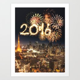 2016 new year in tokyo Art Print