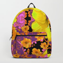 TROPICAL YELLOW & GOLD AMARYLLIS FLOWERS PATTERN ON Backpack