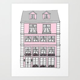 European Townhouse - Pink Art Print