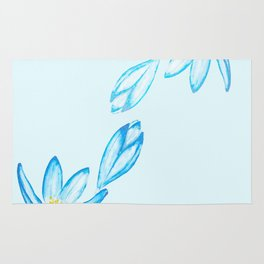 blue botanical crocus flowers watercolor Rug