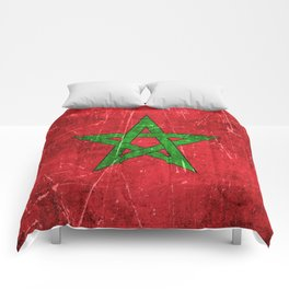 Vintage Aged and Scratched Moroccan Flag Comforters