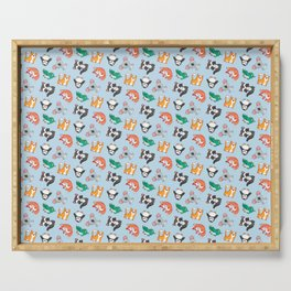 Cute Blue Kawaii Animal Pattern Cartoon Gift Serving Tray