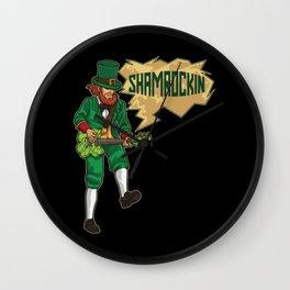 E-Guitar Playing Leprechaun - Shamrockin Wall Clock