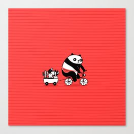 Cacti delivery. Panda on bicycle. Canvas Print