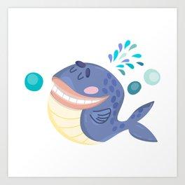 Cute Blue Whale  Art Print