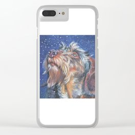 The wirehaired Dachshund dog art portrait from an original painting by L.A.Shepard Clear iPhone Case