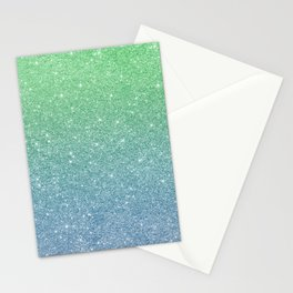 Blue and Mint Green Ombre Glitter Stationery Cards