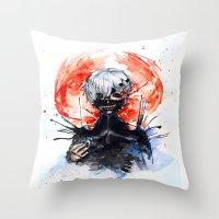 tokyo ghoul Throw Pillows featuring Tokyo Ghoul - Kaneki Ken by Kayla Phan