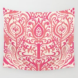Strawberry and Cream Watercolor Tulip Damask Wall Tapestry