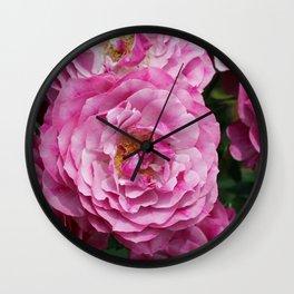 Bright Pink Roses Wall Clock