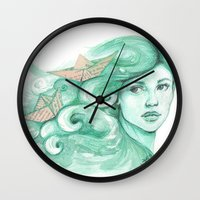 ships Wall Clocks featuring Paper ships by Pendientera