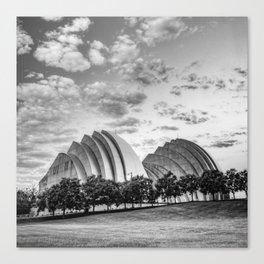 Kansas City Kauffman Center Landscape - Black and White Square Canvas Print