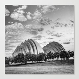 Kansas City Kauffman Center Landscape - Black and White Square Canvas Print