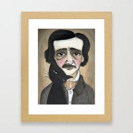Edgar Allan Poe and the Black Cat Framed Art Print