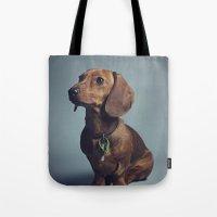 dachshund Tote Bags featuring Dachshund by RikkiB