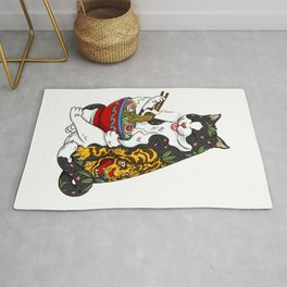 Cat eating Chinese Noodles with Tiger Tattoo Rug