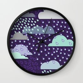 Rainy seamless pattern with clouds. Vector pattern Wall Clock