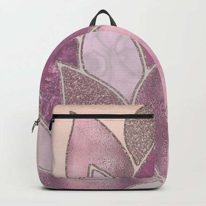 Elegant Glamorous Pink Rose Gold Lotus Flower Backpack