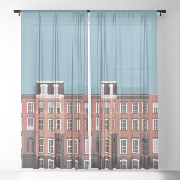 West Village, New York, NYC Travel Poster Sheer Curtain