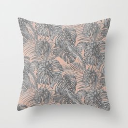 Vacation Vibes- Tropical Black and White Throw Pillow