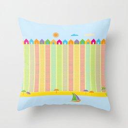 Beach cabins pattern stripes Throw Pillow