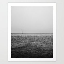Moody Lighthouse - Black & White fine art photo print of ocean, lighthouse and fog Art Print